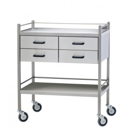 Stainless Steel Trolley, 4 Drawer